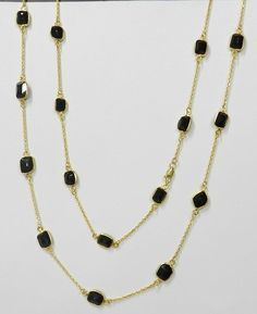 Black Onyx Fancy Uneven Bezel Setting Gold plated Brass Long chain Necklace #handmade #chain #magicalcollection #Gemstone #necklaceJewelry #sterlingsilver #necklace #brass #goldplated