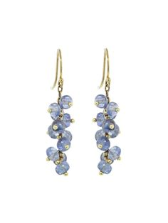 Ten Thousand Things Jewelry - Short Spiral Sapphire Earrings Handcrafted in 18-karat yellow gold. Detailed in sapphire. Earrings measure 1 15/16-in. long. Finished with gold ear wires.