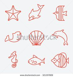 Sea fauna and fish icons, thin line style, flat design