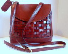 ETIENNE AIGNER Vintage Brown Woven Leather Shoulder Handbag Purse 22c3ba327906e