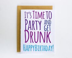Birthday Card Funny Birthday Card It's Time to by DevinlyDesign
