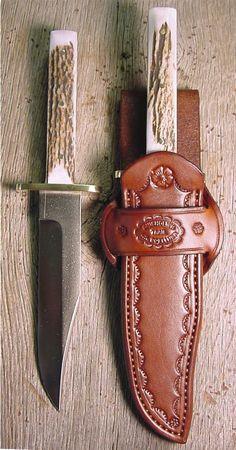 Cowboy knives, leather knife sheaths