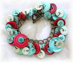 Vintage Mother of Pearl Buttons Red Turquoise Blue Charm Bracelet