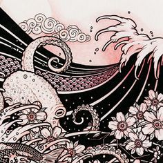 Waves 02 - Japanese Tattoo Style Drawing - Waves, Octopus, Cherry Blossom, Moon, Koi - 8x10 Art Print