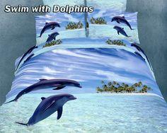 beach theme bedrooms | Beach theme Animal Print Queen size Egyptian Cotton Bedding Set Swim ...
