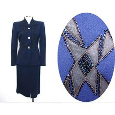 Vintage 50s Beaded Suit Wool Gabardine Skirt Suit Pin Up Navy Blue... ($250) ❤ liked on Polyvore