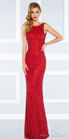 Look and feel like a glamorous superstar in the stunning Fully Beaded Cowl Back Column Evening Dress by Mac Duggal. This red carpet worthy style features a jewel neckline, a sleeveless bodice and a low cowl back. The column silhouette also includes fully beaded sparkling fabric, an invisible zipper closure and a short sweep train. #edressme