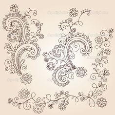 mehndi flower designs | Henna Mehndi Paisley Flowers and Vines Doodle Vector Design - Imagens ...                                                                                                                                                     Mais