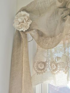 Junk Chic Cottage: Laundry Room. A close up of the no sew burlap window treatment.