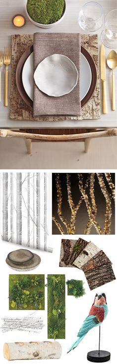 Build Your Own Enchanted Forest. We're loving this spread. Reminds us of our Roost Home Furnishings. Find here: http://www.scarlettalley.com/roost.cfm