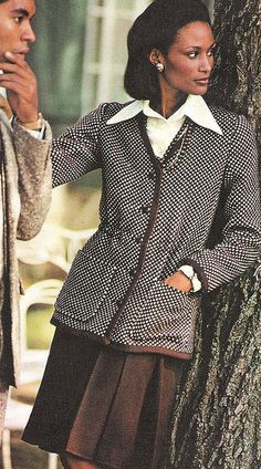 Model Beverly Johnson is wearing Ungaro. Vogue Patterns 1977