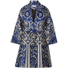 Temperley London Isidora jacquard coat ($639) ❤ liked on Polyvore featuring outerwear, coats, cobalt blue, temperley london and jacquard coat