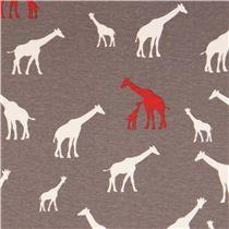 grey Africa animal interlock fabric with white and red giraffes