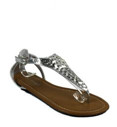 M Style Women's Point-45 Patent Studded T Strap Flat Thong Sandals ** You can get more details by clicking on the image.