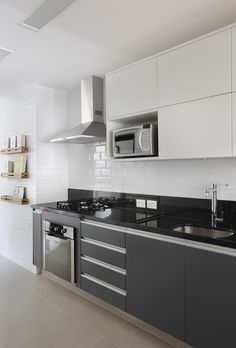 Browse photos of Minimalist Kitchen Design. Find ideas and inspiration for Minimalist Kitchen Design to add to your own home. Modern Grey Kitchen, Grey Kitchen Designs, Kitchen Room Design, Contemporary Kitchen Design, Minimalist Kitchen, Home Decor Kitchen, Interior Design Kitchen, Home Kitchens, Kitchen Nook