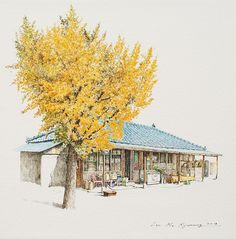 (Korea) A small store, Okgi mini store, 2018 by Lee Me Kyeoung ). ink on paper with a pen use the acrylic. Korean Art, Asian Art, Ink Pen Art, List Of Artists, Artist List, Building Art, Pen And Watercolor, Color Pencil Art, Illustration Artists