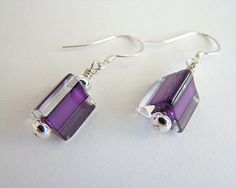 Eye Candy Purple Triangle Cane Glass Drop Earrings by RedFishArts
