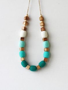 Teal necklace Ombre nursing necklace Chunky Geometric Natural Baby shower gift Mint green Woodland Modern crochet jewelry ohtteam. $24.00, via Etsy.