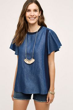Fluttered Chambray Tee #anthropologie