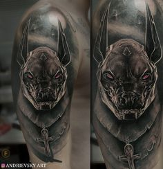 Anubis tattoo, тату, Анубис, black and grey, realistic tattoo