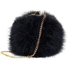 Zarapack Women's Genuine Fluffy Feather Fur Round Clutch Shoulder Bag... ($36) ❤ liked on Polyvore featuring bags, handbags, shoulder bags, black fur handbag, round purse, feather handbag, black purse and black shoulder bag