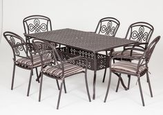 This our Brompton 6 seat rectangular metal garden set.