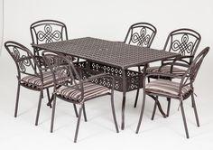 This our Brompton 6 seat rectangular metal garden set. Cast Aluminum Patio Furniture, Metal Garden Furniture, Outdoor Furniture, Outdoor Decor, Illustrations And Posters, Dining Table, Brompton, Home Decor, Illustrations Posters