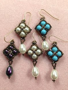 Reversible Crazy for Pearls Earrings Weird Jewelry, Skull Jewelry, Bead Jewellery, Hippie Jewelry, Beaded Earrings Patterns, Beading Patterns Free, Earring Tutorial, Western Jewelry, Steampunk Fashion
