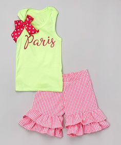 This Neon Green 'Paris' Tank & Ruffle Shorts - Infant, Toddler & Girls is perfect! #zulilyfinds