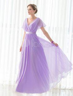 Lavender flowy bridesmaid dress