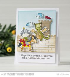 Handmade card from Vika Salmina featuring Castle Die-namics #mftstamps