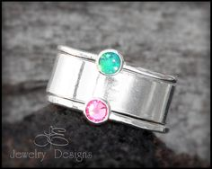 3 Ring Set, Birthstone  Stacking Rings, Wide Sterling Band, Mother's Ring, Family Ring - sterling silver - stacking rings, stacked rings on Etsy, $104.00