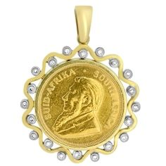 Krugerrand Coin and Diamond Pendant