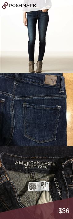 """American Eagle Hi- Rise Skinny Jeans Excellent condition dark wash, inseam 30"""" American Eagle Outfitters Jeans Skinny"""