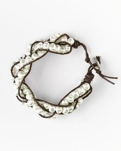 pearls and leather twine.