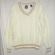 Vintage 80s Gap Preppie Cricket Cable Knit Sweater L As Is