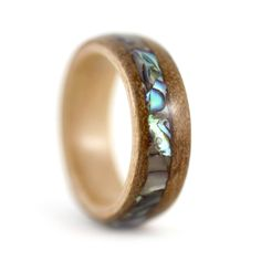 Paua Shell and Kauri Wooden Ring with a Birch liner