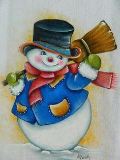 Más                                                                                                                                                                                 Más Wood Snowman, Snowman Faces, Cute Snowman, Snowman Ornaments, Christmas Rock, Christmas Items, Christmas Snowman, Vintage Christmas, Christmas Ornaments