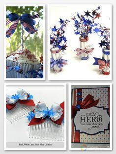 Fun crafts to make and give! Patriotic Cupcakes/Toppers, Party Favors, Hair Bows and an awesome paper craft card