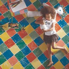 Cool checkerboard vinyl floor for the kids' rooms.