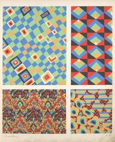 [Four geometric compositions.] From New York Public Library Digital Collections.