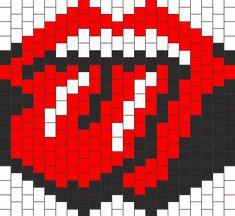 Rolling Stones Mask Bead Pattern Kandi Mask Patterns, Pony Bead Patterns, Beading Patterns Free, Beaded Jewelry Patterns, Peyote Patterns, Rave Bracelets, Diy Bracelets Easy, Beaded Bracelets, Rolling Stones