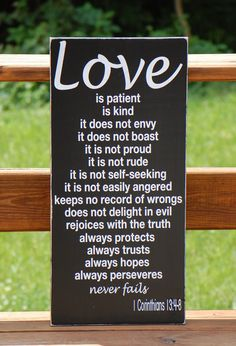 Love Is Patient-  Valentine's Day 1 Corinthians 13:4-8 Christian Bible Subway Typography Art Wooden Sign Wedding. $60.00, via Etsy.