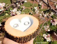 "Rustic Wedding Ring ""Pillow"" Log Ring Dish Engraved Heart. $26.00, via Etsy."
