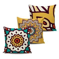KIT com 3 Almofadas Decorativas Mandala 45x45cm - ALMAND008 - Pano e Arte