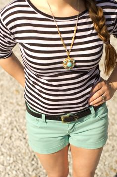 Stripped shirt - pop of color shorts and a vintage art deco turquoise necklace from @CS Gems Vintage Jewelry Vintage Modern Jewelry www.etsy.com/shop/csvintagegems