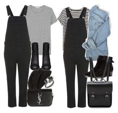 """Inspired with long black overalls"" by nikka-phillips ❤ liked on Polyvore"