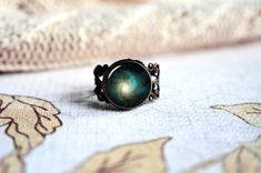Green Supernova Explosion, space nebula galaxy adjustable ring, antique silver or antique bronze. Choose your finish