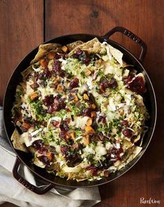 Cranberry, Brussels Sprouts and Brie Skillet Nachos - PureWow Brussels Sprouts Thanksgiving Recipe, Thanksgiving Leftover Recipes, Thanksgiving Leftovers, Thanksgiving Appetizers, Thanksgiving Holiday, Hosting Thanksgiving, Leftover Turkey, Holiday Meals, Christmas