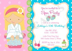 Free Printable Spa Birthday Party Invitations Spa at Home